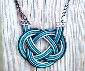 Silver  and 3 shades of Blue Double Coin Knot necklace