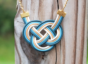 Indigo, Blue, Gold and White leather Double Coin knot necklace