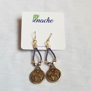 Metallic purple earrings with Charms