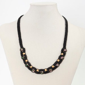 Love At First Sight - black leather necklace with Cloisonne beads and gold plated beads