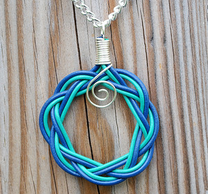 Blue and Turquoise leather Celtic Circle necklace