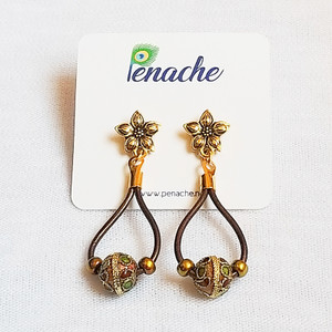 Metallic Maroon leather with Cloisonne Charms. Titanium posts for metal sensitive ears. Hangs 2 inches in length.
