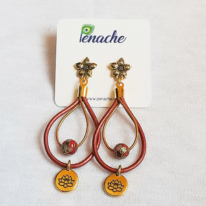 Metallic Red & Gold leather with Cloisonne beads and  Gold Plated Charms. Titanium posts for metal sensitive ears. Hangs 3 inches in length.