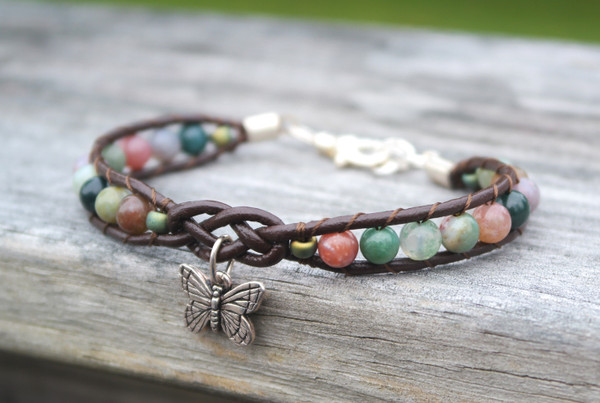 Charmed Fancy Jasper and Chocolate leather Bracelet