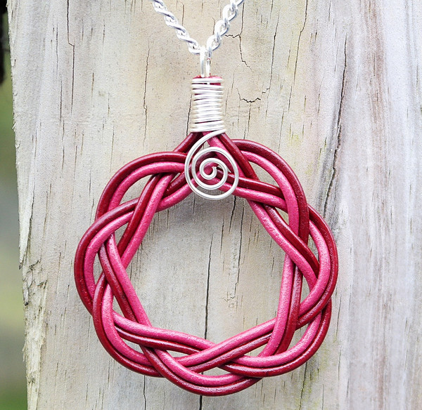 Maroon and Dark Pink  Leather Celtic Circle Necklace