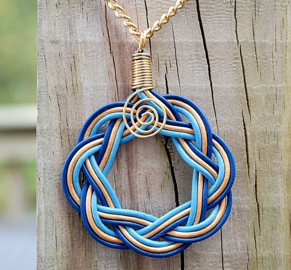 Blue, Sky blue and Gold leather Celtic Circle necklace