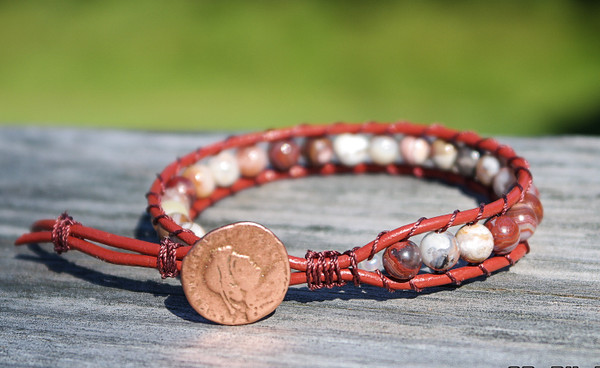 Laguna Lace agate and Brick Red Leather