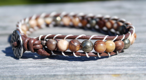 Australian Zebra Jasper and Pyrite Leather Bracelet