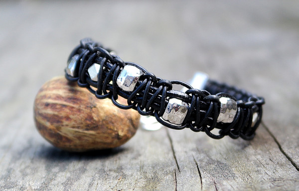 Knotted Black Leather and Silver  beads bracelet