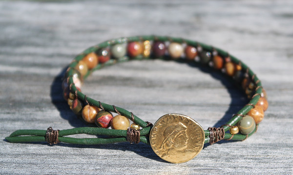 Red creek jasper and Pine green leather bracelet