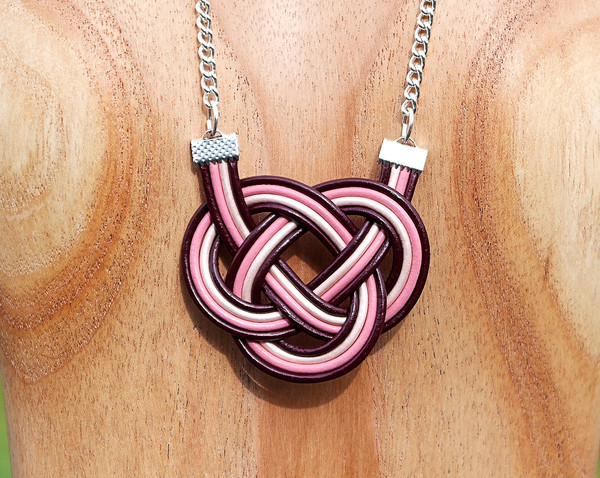 Maroon and Pink Double Coin knot necklace