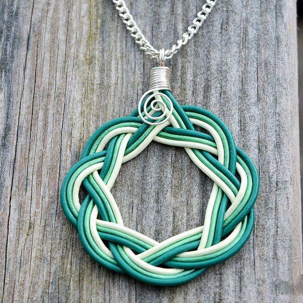 Shades of green Celtic Circle necklace