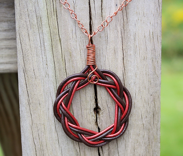 Dark Chocolate and Metallic Red leather Celtic Circle necklace