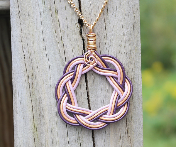 Purple, Gold and Lilac leather Celtic Circle Necklace