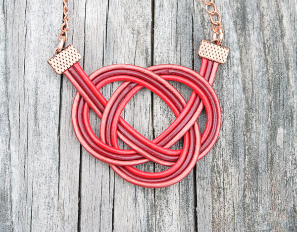 Maroon, Brick Red and Metallic Red leather Double Coin Knot necklace