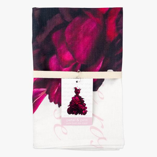 petal and pins Pure Linen Tea Towel - Red Wine Rose