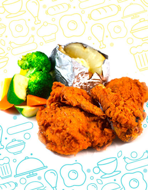 Fried Chicken With Mashed Potatoes & vegetable