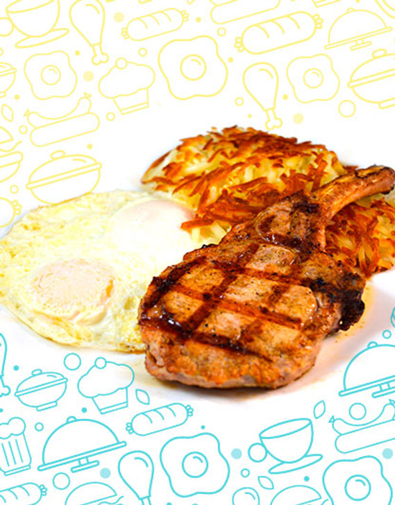 Grilled Pork Chop 10 Oz With Mashed Potatoes & vegetable