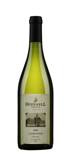 A bottle of Chardonnay wine produced by Hopewell Valley Vineyards - one of many New Jersey wineries