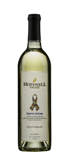 A bottle of Pinot Grigio wine produced by Hopewell Valley Vineyards - one of many New Jersey wineries