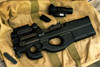 Black PS90 SBR with NVM-14 night vision scope.