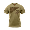 Rothco US Flag / USMC Eagle, Globe, & Anchor T Shirt - Coyote Brown