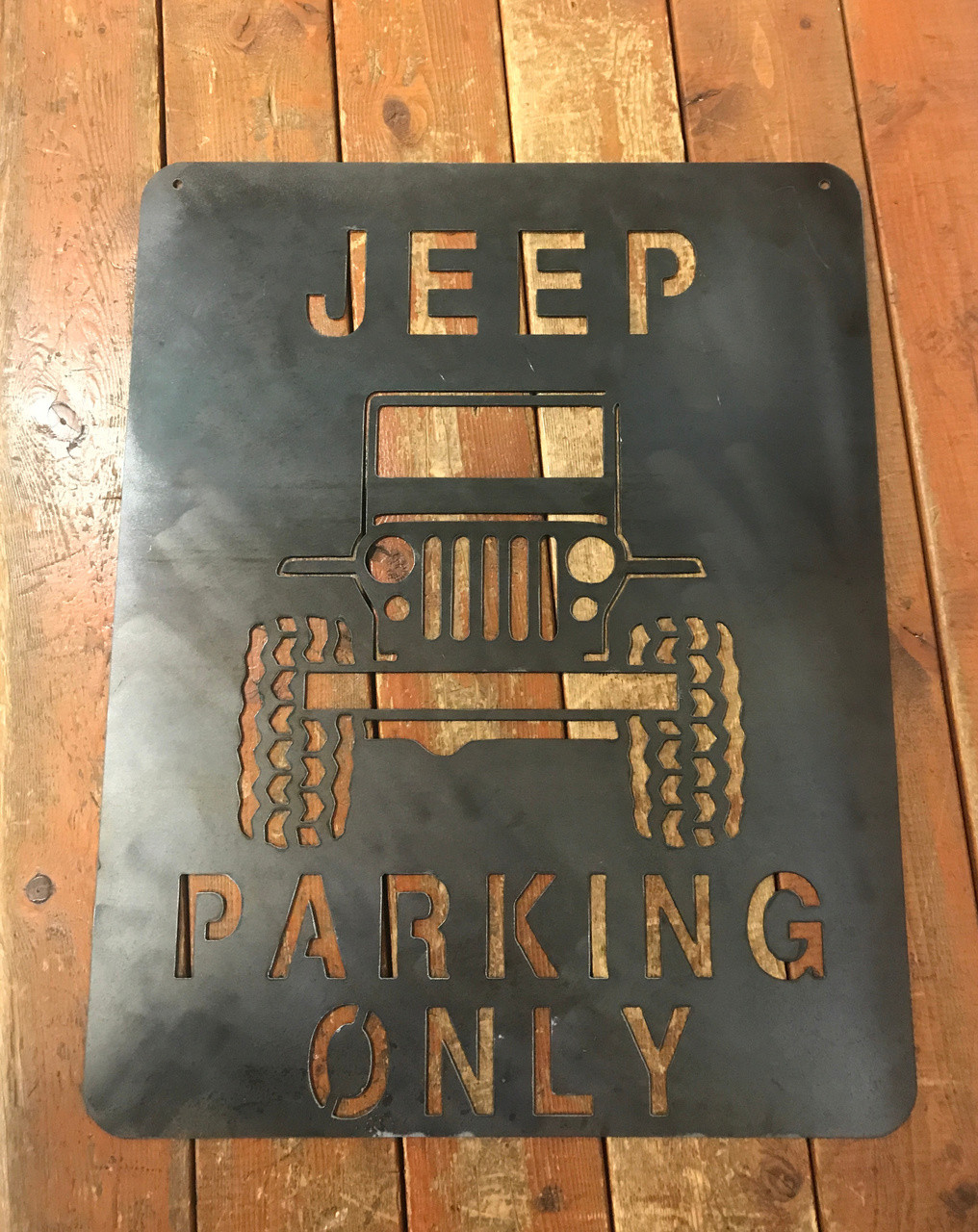 Gifts For Jeep Lovers >> Jeep Parking Metal Art Plasma Cut Sign - Army Surplus Warehouse, Inc.