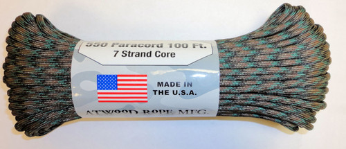 Atwood Rope 550 Paracord  7 Strand Core Woodland Camo 100 ft