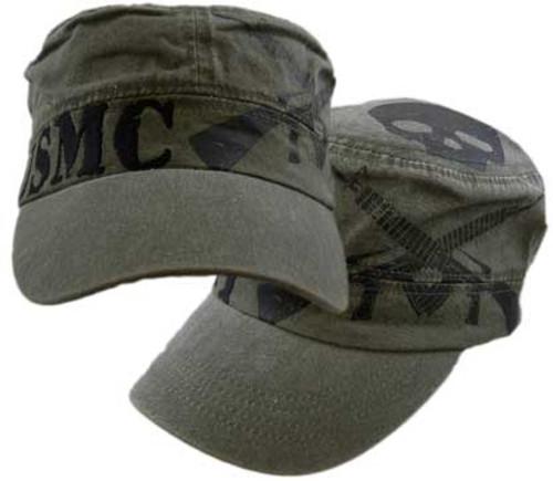 USMC Skull/Guns Flat Top Cap