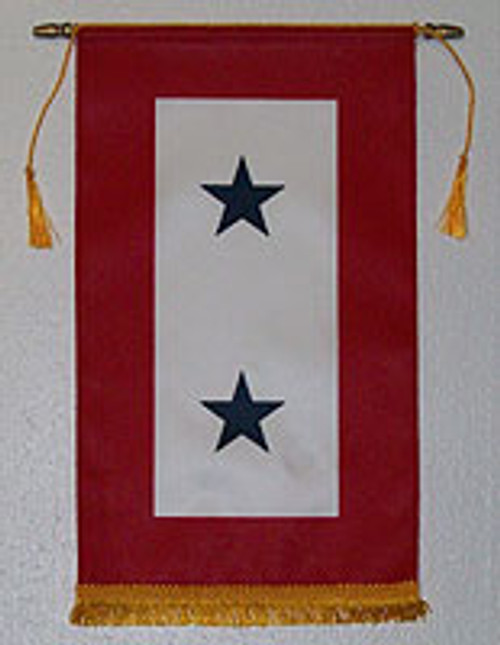 Service Flag, (Blue Star Banner) 2 Star with Gold Fringe