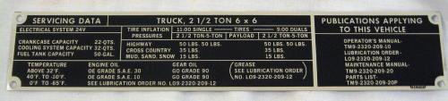 6x6 Servicing Data Plate