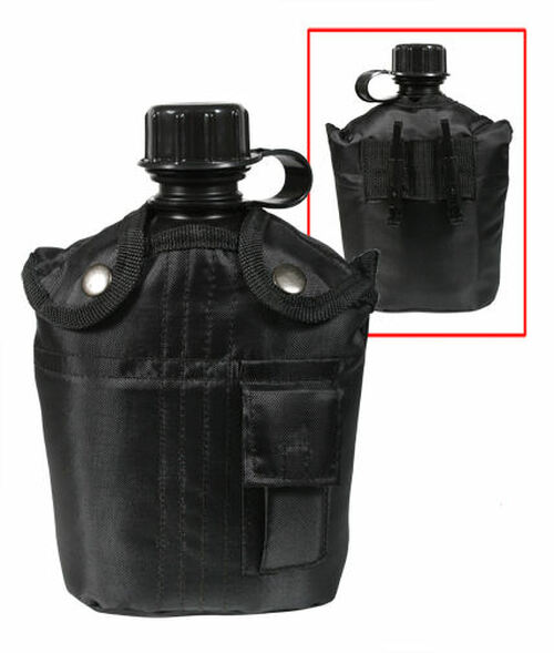 G.I. TYPE 1QT PLASTIC CANTEEN WITH COVER AND CUP BLACK