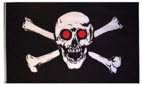 Pirate Skull with Red Eyes Flag