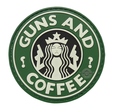MORALE PVC  PATCH - GUNS & COFFEE