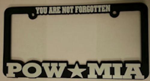 Plastic License Plate Frame POW MIA