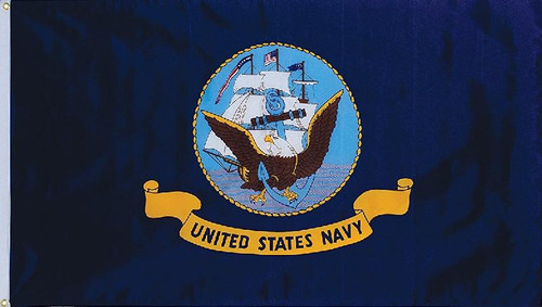 Navy  2 Sided Embroidered Flag 3 x 5
