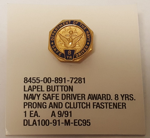 Lapel Button Navy Safe Driver Award 8 years