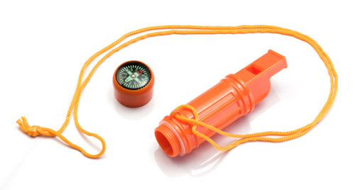Survival Whistle with Compass, Mirror, Flint to Start Fire