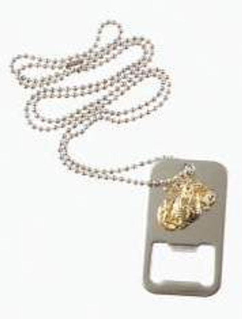 SILVER USMC G&A DOG TAG BOTTLE OPENER W/CHAIN