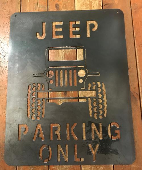 Jeep Parking Metal Art Plasma Cut Sign Army Surplus