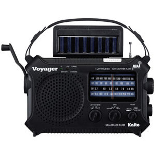 Kaito Voyager KA500 Black Solar & Crank Weather Alert Multiband  Radio with Cell Phone & MP3/IPOD Charger