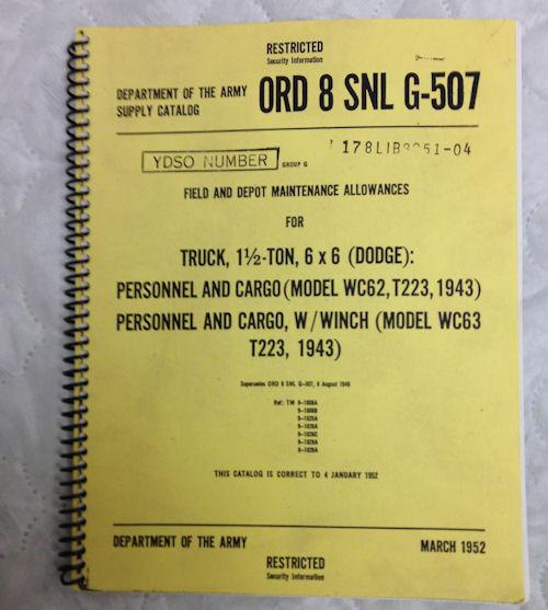 REPRINT Truck 1 1/2 Ton , 6 x6 Dodge Manual ORD8 SNL G-507