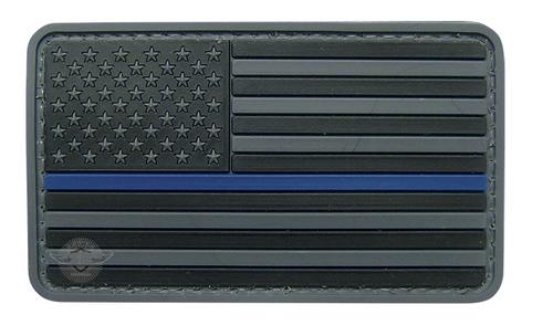 PVC Morale Patch- US Flag Black-Blue