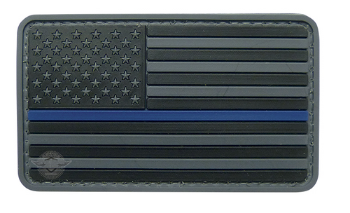 PVC Morale Patch- US Flag Black-Blue
