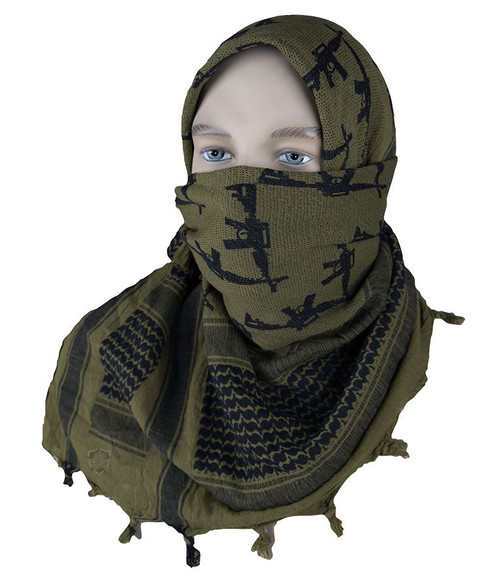 5ive STAR COALITION DESERT SHEMAGH SCARF FACE MASK CROSSED GUNS