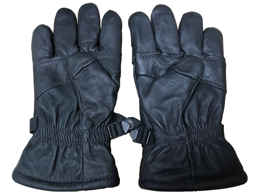 NEW Intermediate Cold/Wet Weather Black Leather Military Issue Gloves