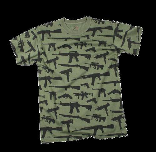 T-SHIRT - MULTI PRINT ''GUNS'' - OLIVE DRAB