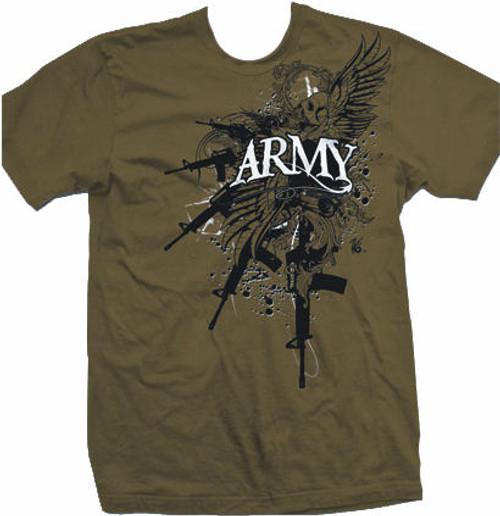 Zero 6 Army Guns T-Shirt Brown