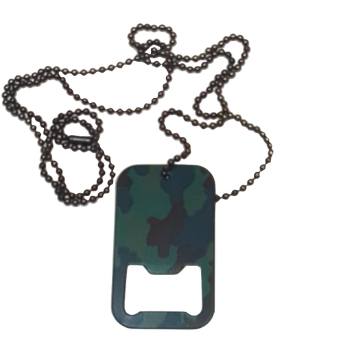 DOG TAG BOTTLE OPENER W/CHAIN - WOODLAND CAMO