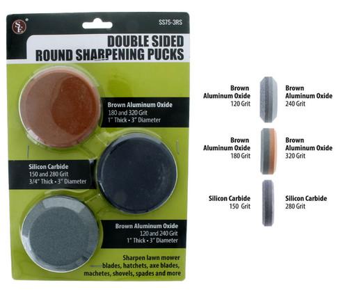 """Sona Enterprise 3Pc-3"""" Double Sided Round Sharpening Stone Set"""